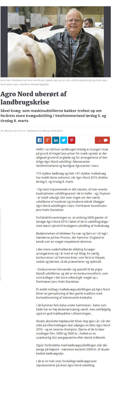 Agro Nord uberørt af landbrugskrise   Nordjyske.dk